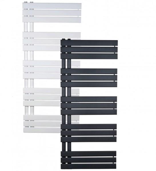 Design Badheizkörper, Paneelheizkörper Neckar, vertikal mit Anschluss 50mm weiß & anthrazit