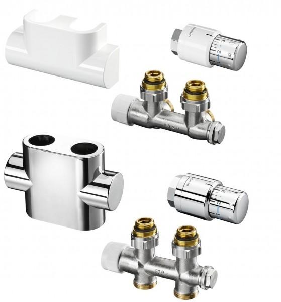 Oventrop Multiblock T, Eck- oder Durchgangsform, weiß, chrom o. Edelstahl inkl. Thermostatkopf