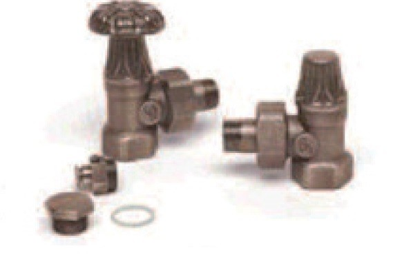 Caleido Nostalgie Anschlusset für Gussheizkörper, Temperaturregler Metall