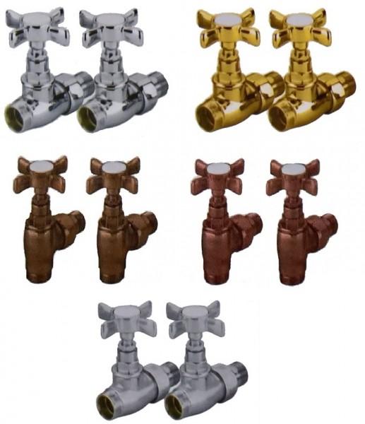 Caleido Nostalgie Thermostatventil-Set, Anschlusset, Eck- oder Durchgangsform, 5 Farben
