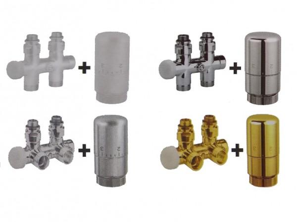 Caleido Multiblock Eck- oder Durchgangsform, Anschlussset inkl. Thermostatkopf
