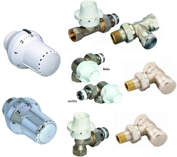 Thermostatventil-Set, Anschlusset, Eck-, Durchgang- o. Winkeleckform in weiß oder chrom