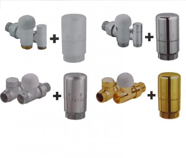 Caleido Thermostatventil-Set, Anschlusset, Eck- oder Durchgangsform, 4 Farben, Thermostatkopf