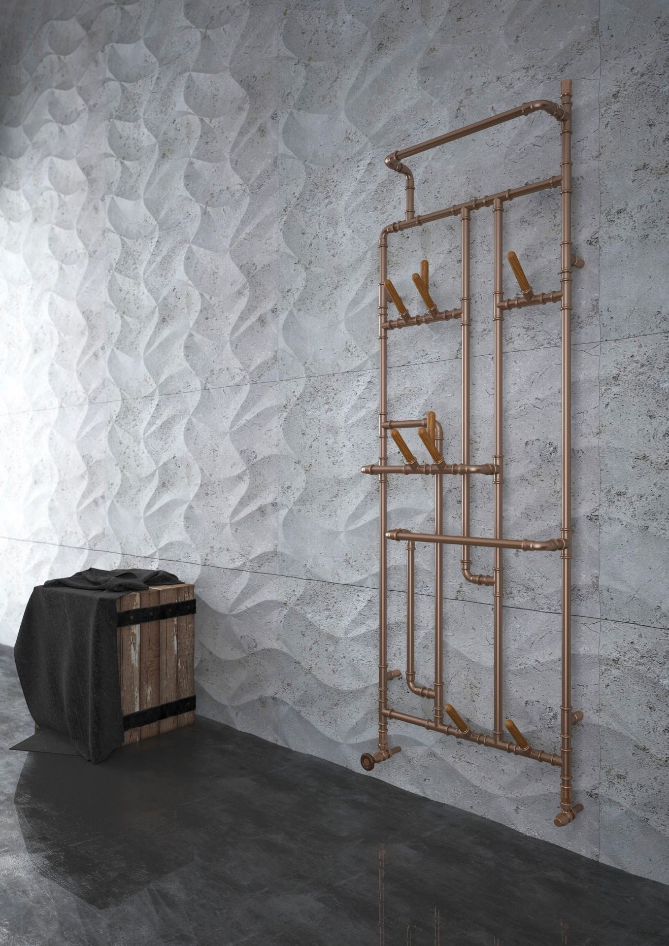 Retro Kupferheizkörper, Badheizkörper Terma Pajak, vertikal