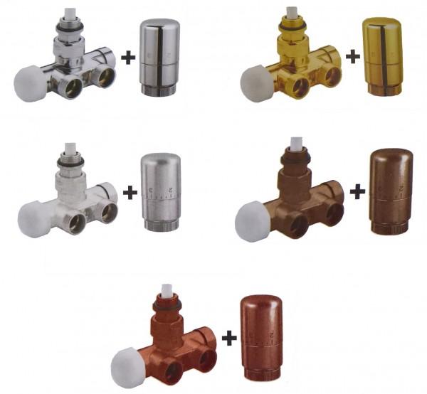 Caleido Multiblock Eckform, Anschlussset, Lanzenventil, Monorohr inkl. Thermostatkopf