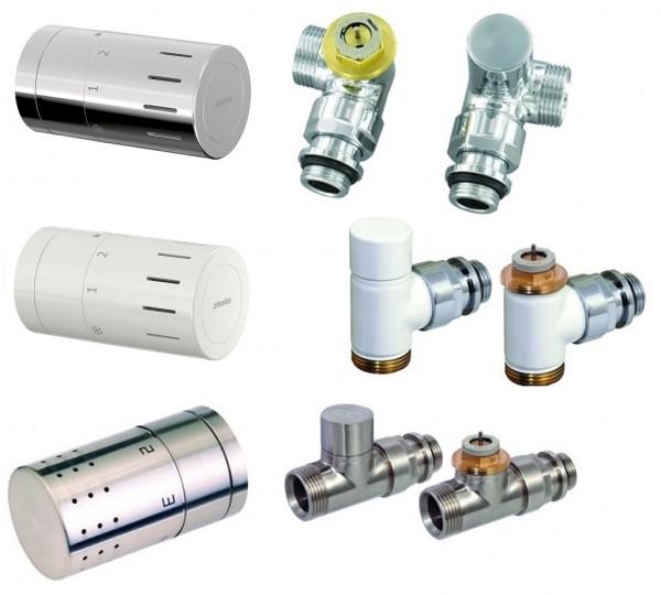 Simplex Thermostatventil-Set Comap, Eck- Durchgang oder Winkeleckform in weiß, chrom, Edelstahl